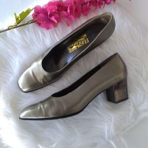 Salvatore Ferragamo Gun Metal Leather Block Heels